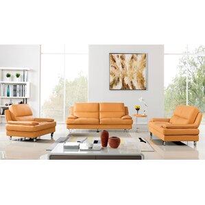 Harrison Leather 3 Piece Living Room Set