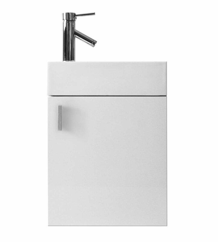 "virtu usa carino 16"" single bathroom vanity set with white top"