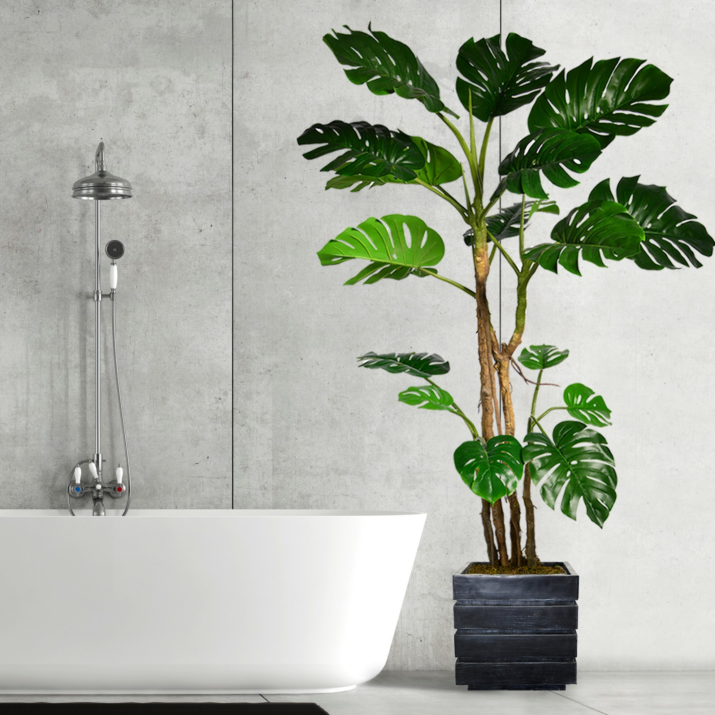 Langley Street Monstera Artificial Home Decor Floor Foliage Tree In