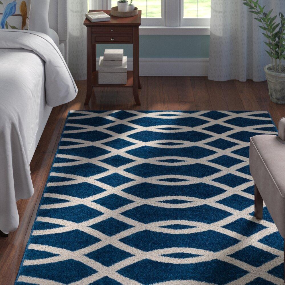 Andover Mills Chrisman Geometric Navy Blue White Rug Reviews Wayfair