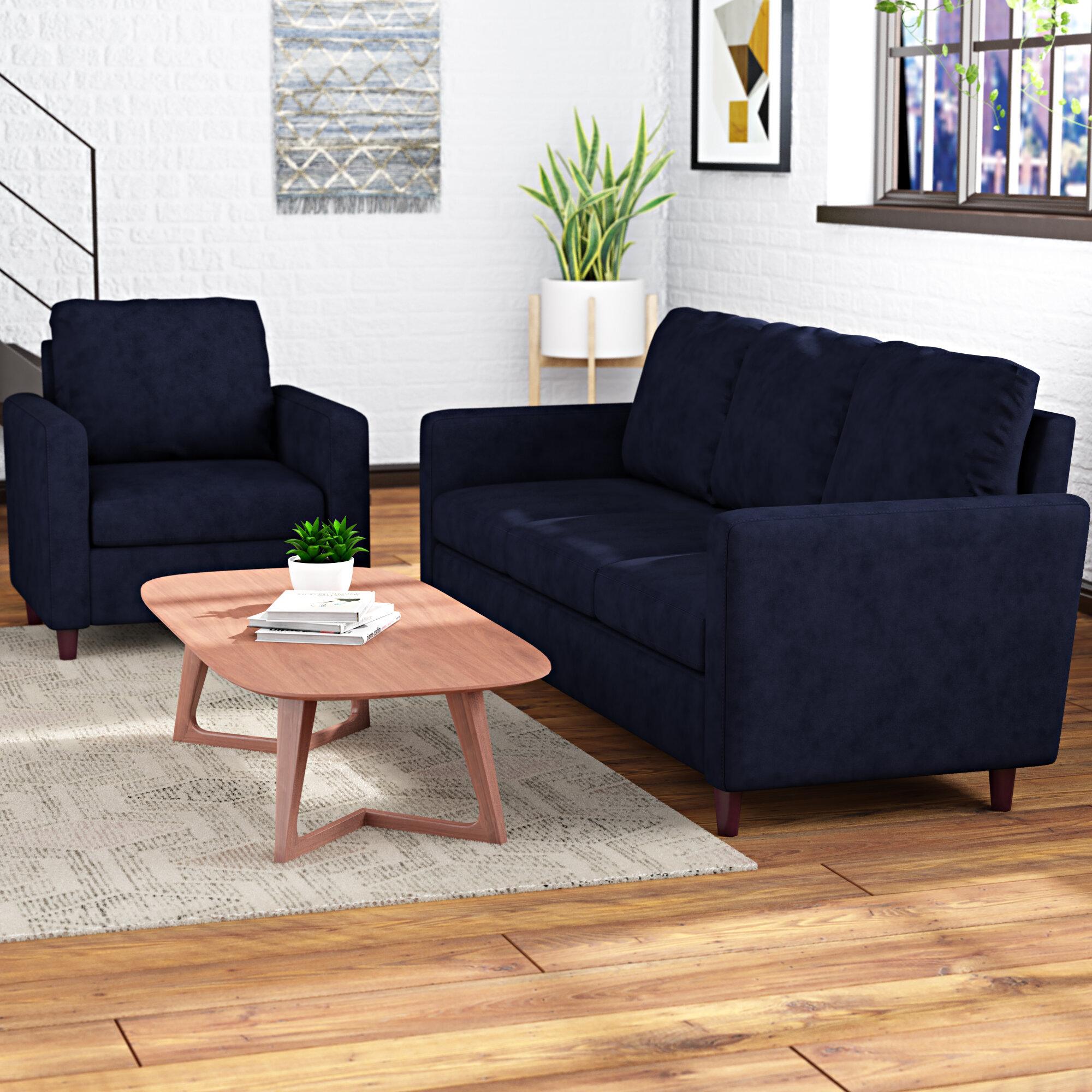 Wrought studio anglin raisin fabric modern 2 piece wood frame living room set wayfair