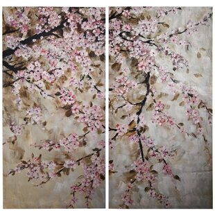 U0027Cherry Blossomu0027 2 Piece Painting Print Set On Canvas