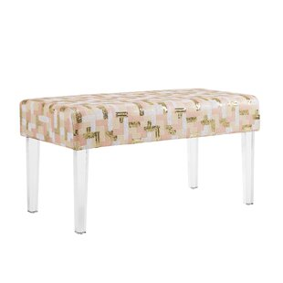 Comfort Sequin Colorblock Upholstered Bench with Acrylic Leg by Mercer41
