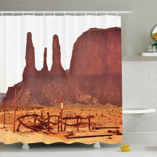 House Scenic Archaic Monument Valley On Western Desert Odd Formation Of Rock And Cliff Print Shower Curtain Set by Ambesonne Design