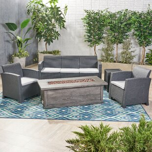 Baez Outdoor 5 Piece Rattan Sofa Seating Group with Cushions