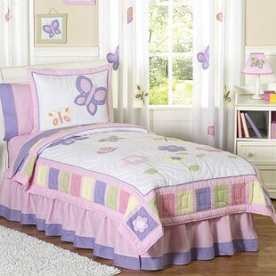 Butterfly 100% Cotton 4 Piece Twin Comforter Set