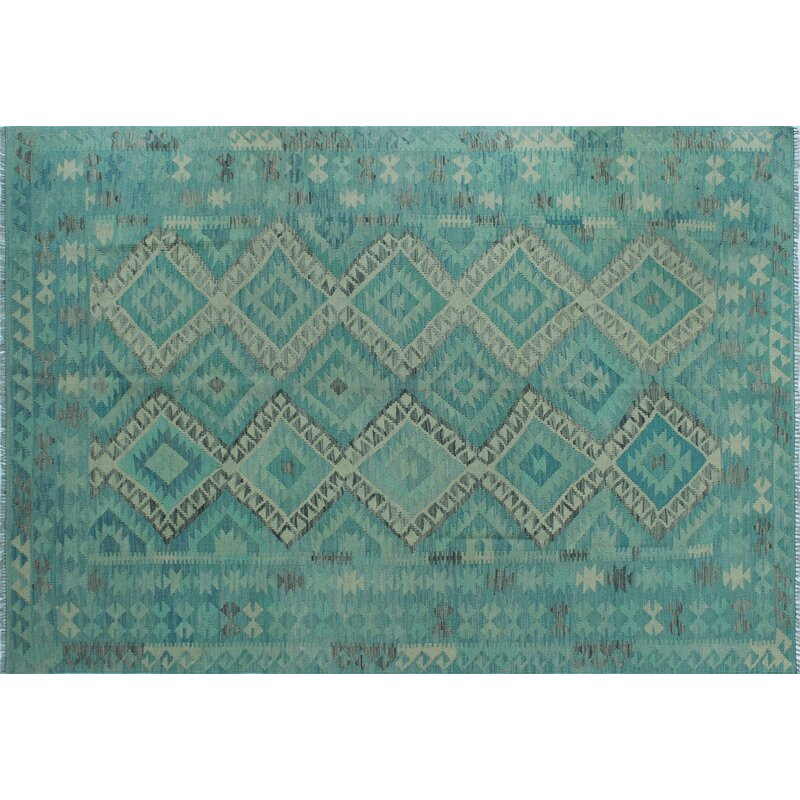 Foundry Select Benge Hand Knotted Wool Aqua Green Beige Area Rug Wayfair
