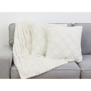 Sardis Lattice 3 Piece Faux Fur Throw Pillow Set