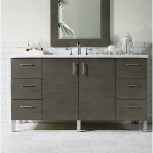 Elbridge Modern 60 Wall-Mounted Single Silver Oak Bathroom Vanity Set By Mercury Row