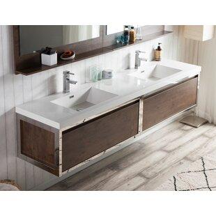 McCook 84 inch  Wall-Mounted Double Bathroom Vanity Set (Set of 3)