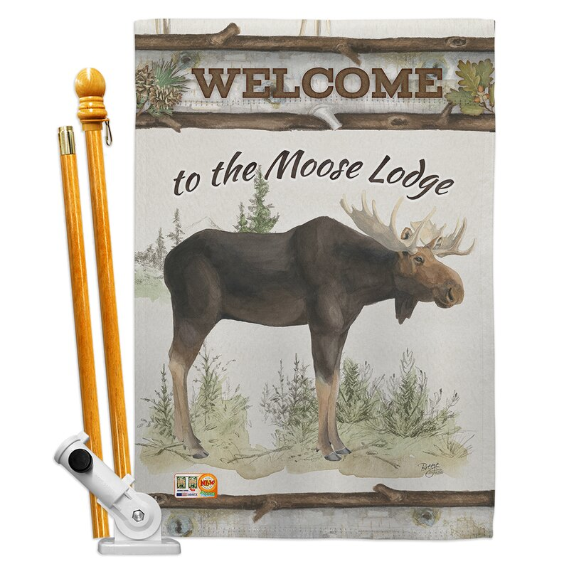 Breeze Decor The Moose Lodge 2 Sided Polyester 40 X 28 In Flag Set Wayfair