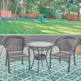 August Grove Ryne Outdoor 3 Piece Wicker Bistro Set