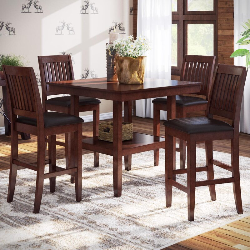 Loon Peak Chippewa 5 Piece Counter Height Dining Set Reviews Wayfair