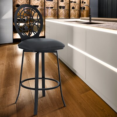 Groovy Lotus 30 Swivel Bar Stool Armen Living Color Matte Black Squirreltailoven Fun Painted Chair Ideas Images Squirreltailovenorg