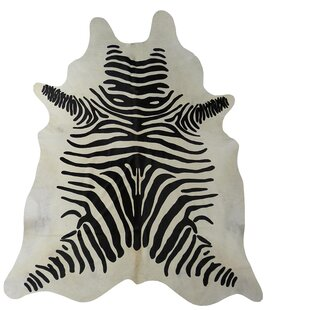 Online Reviews Stenciled Zebra Brazilian Cowhide Black/White Area Rug By Chesterfield Leather