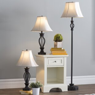 Three Posts Gambier 3 Piece Table and floor Lamp Set