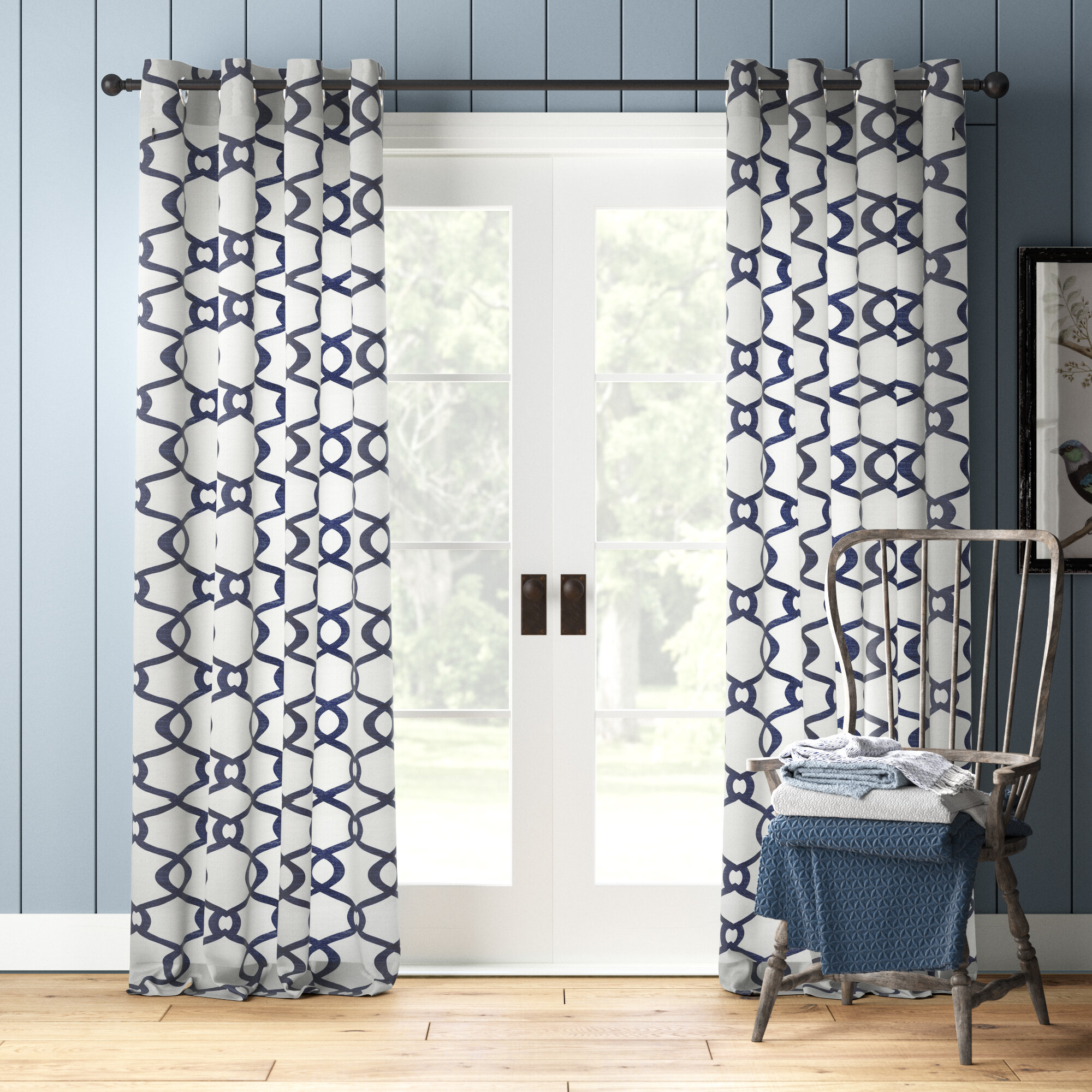 Baumgarten City Geometric Semi Sheer Grommet Curtain Panels Reviews Birch Lane