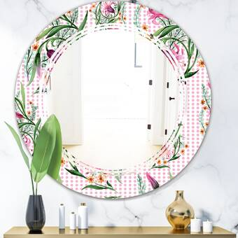 East Urban Home Triple C Floral Botanical X Cottage Americana Frameless Wall Mirror Wayfair