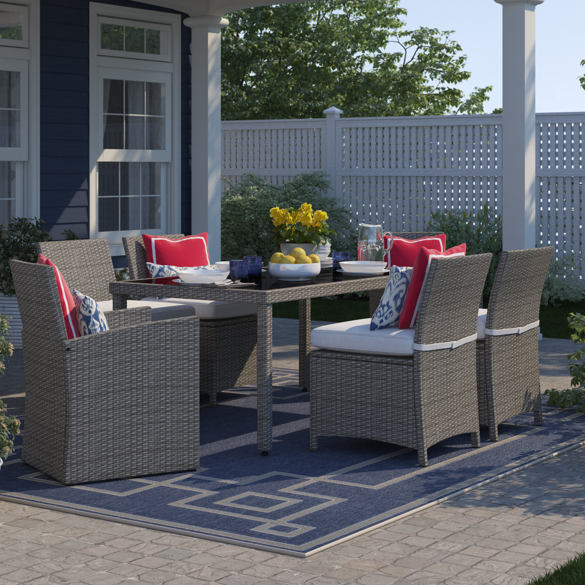 Sol 72 Outdoor Worthing 7 Piece Dining Set With Cushions Reviews Wayfair
