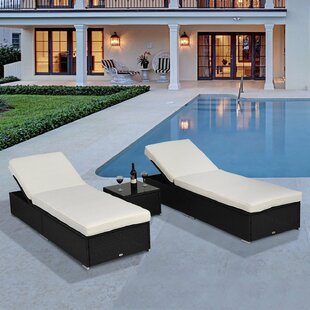 Ventura Reclining Sun Lounger With Cushion And Table Image