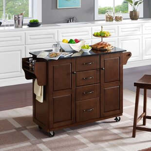 Iyana Kitchen Cart with Granite Top Charlton Home