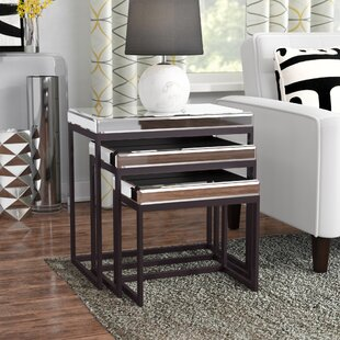 Charla Smoked Mirrored Metal Base 3 Piece Nesting Tables Ivy Bronx