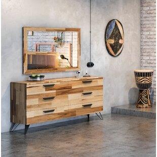 Rashida Light Wood 6 Drawer Double Dresser with Mirror