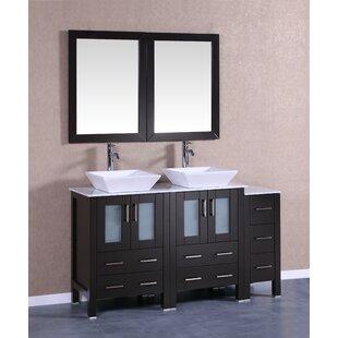 Quintana 60 Double Bathroom Vanity Set with Mirror by Bosconi