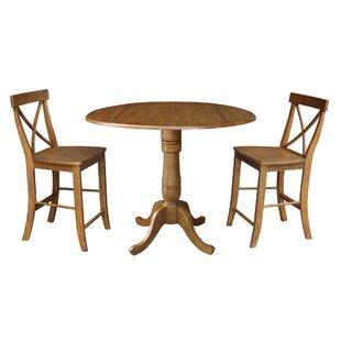 Spotts 42 Round Top Pedestal Extending 3 Piece Counter Height Drop Leaf Dining Set