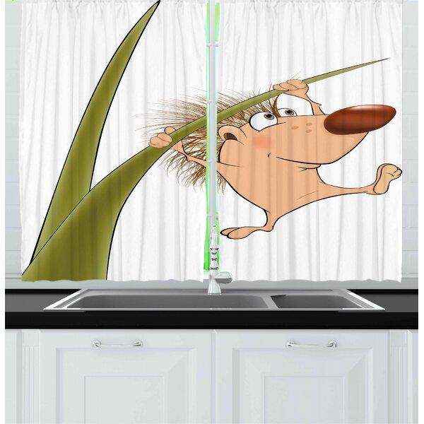 East Urban Home Hedgehog 2 Piece Kitchen Curtain Wayfair