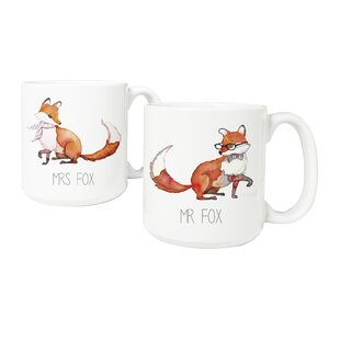 Personalized 2 Piece 20 Oz. Fox Large Coffee Mug Set