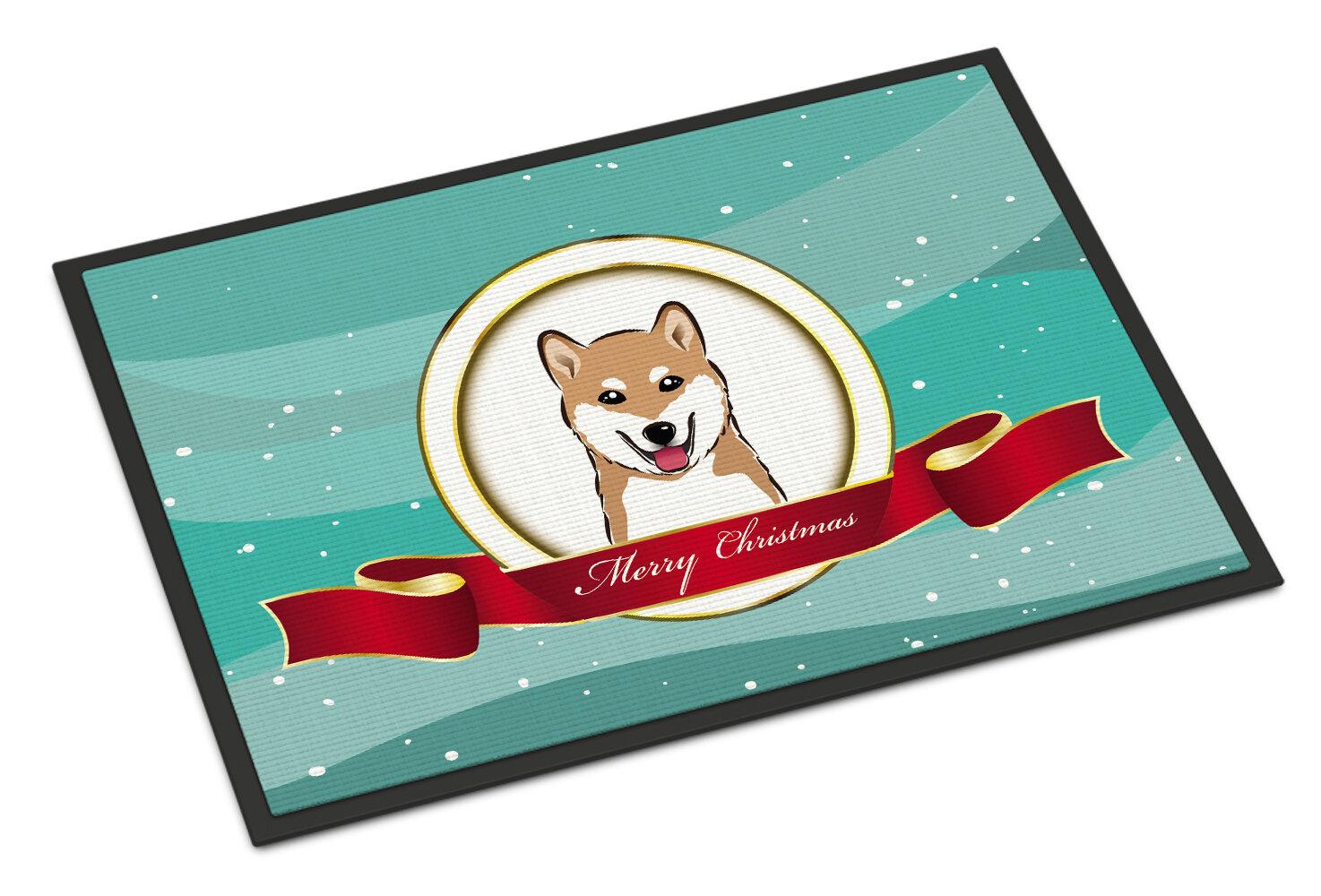 Caroline\'s Treasures Shiba Inu Merry Christmas Doormat | Wayfair