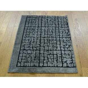 Best Price One-of-a-Kind Beverly Raised Hand-Knotted 2' x 3' Wool/Silk Black/Gray Area Rug By Isabelline