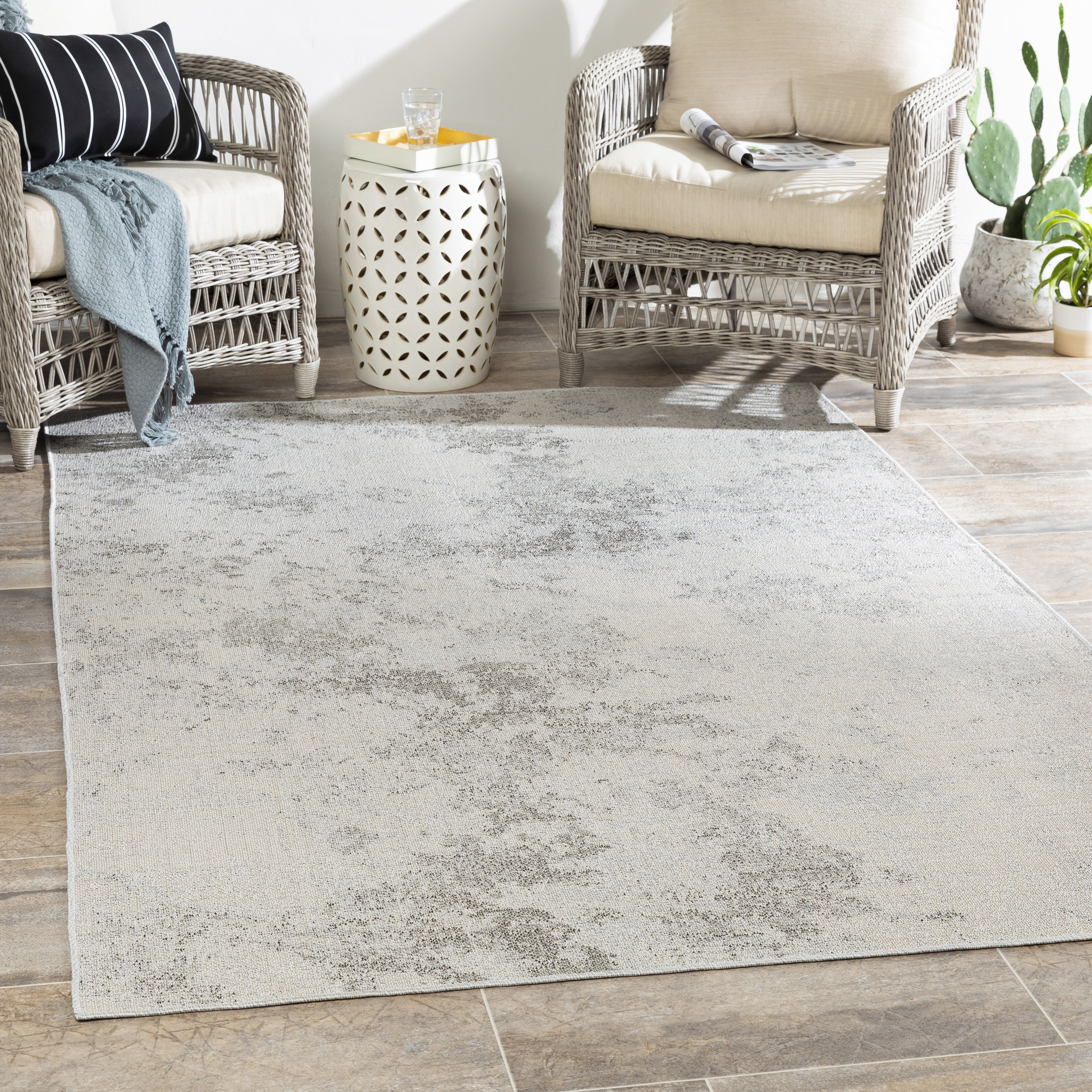 17 Stories Magness Abstract Power Loom Taupe Ivory Indoor Outdoor Rug Wayfair