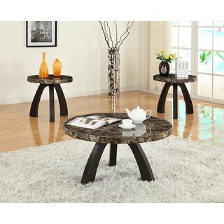 Ariadnee Round Faux Top 3 Piece Coffee Table Set by Red Barrel Studio SKU:DC373576 Buy