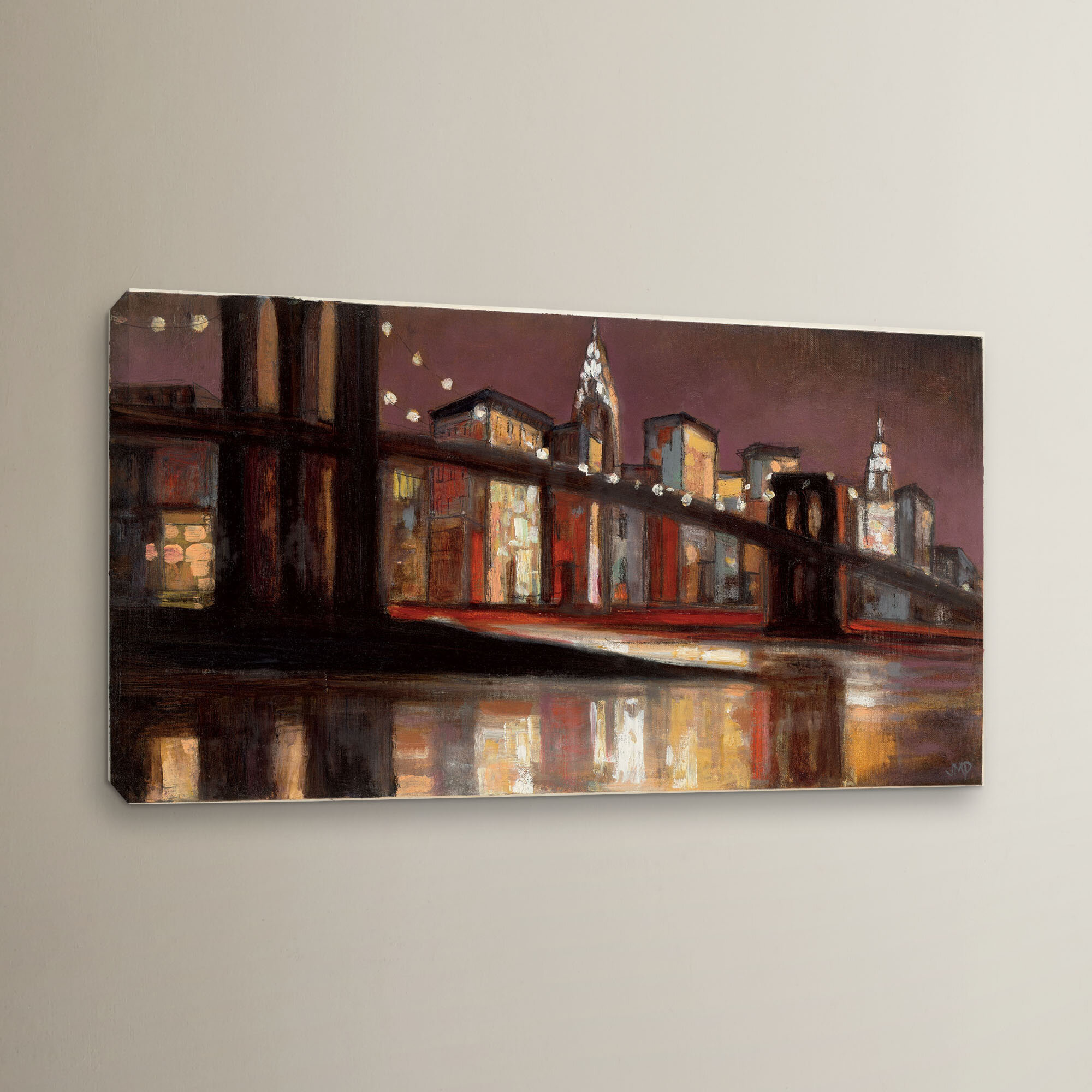 Ebern Designs Nyc Nighttime Painting Print On Wrapped Canvas Wayfair