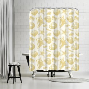 White Seashell Shower Curtain