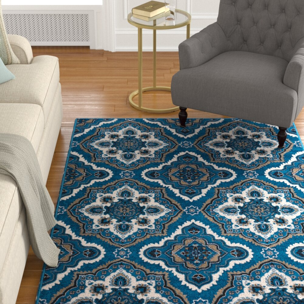 Kent Modern Medallion Navy Brown Area Rug