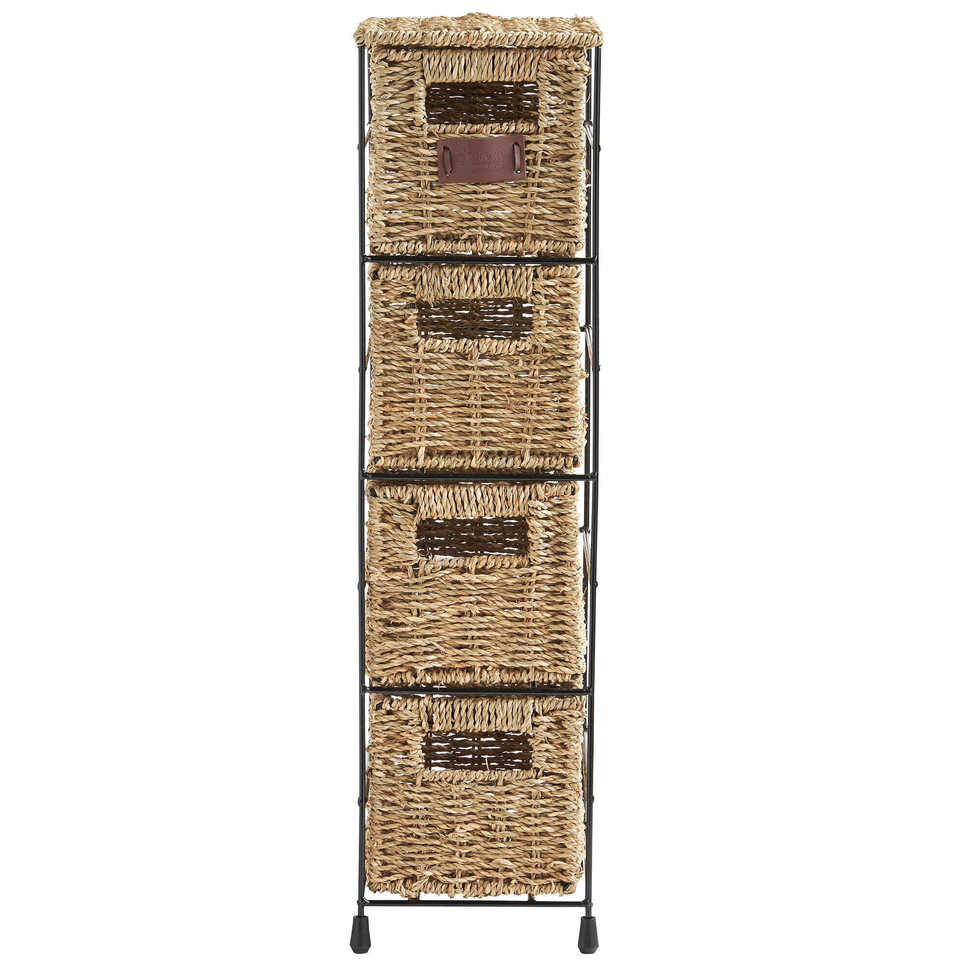 VonHaus 4 Tier Seagrass Storage Basket Tower Unit & Reviews | Wayfair
