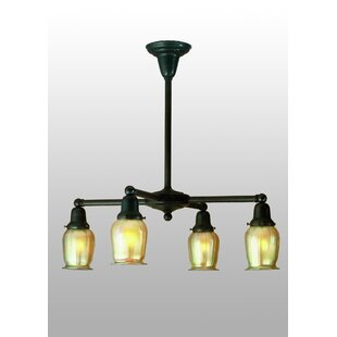 Meyda Tiffany Revival Oyster Bay Favrile 4-Light Shaded Chandelier
