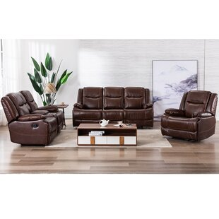 Genuine Leather 3 Piece Reclining Living Room Set by Red Barrel Studio