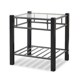 Reviews Sullivan Metal and Wood Nightstand with Glass Surface ByRed Barrel Studio