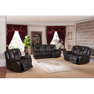Red Barrel Studio Mickey Reclining 3 Piece Leather Living Room Set