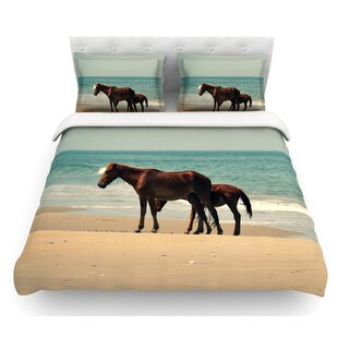 Sandy Toes by Robin Dickinson Beach Horses Featherweight Duvet Cover