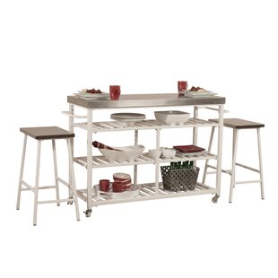 Geary Kitchen Island Set with Stainless Steel Top August Grove
