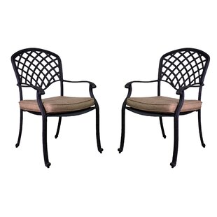 Idalou Stacking Patio Dining Chair with Cushion (Set of 2)