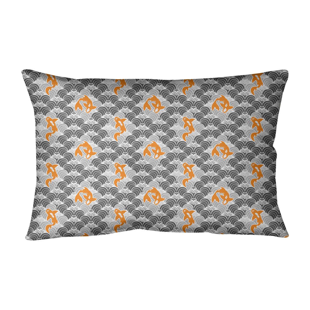 Latitude Run Avicia Koi Fish Waves Indoor Outdoor Lumbar Pillow Wayfair
