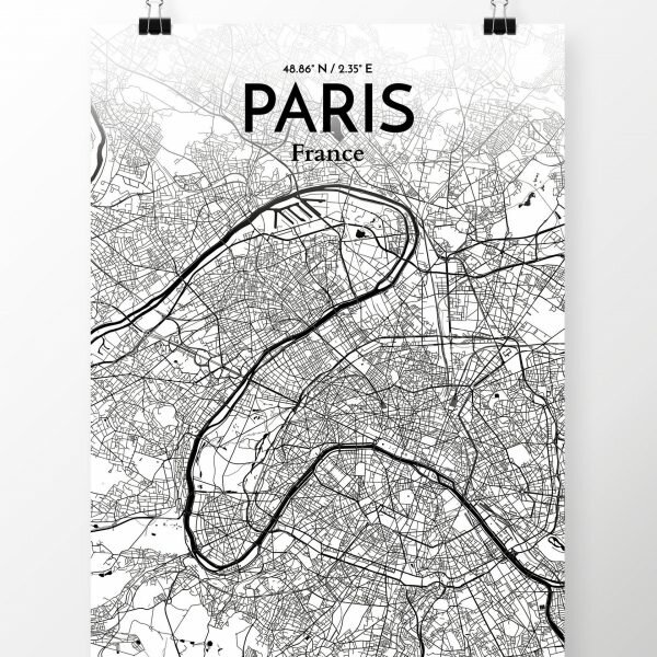 \'Paris City Map\' Graphic Art Print Poster in Ink