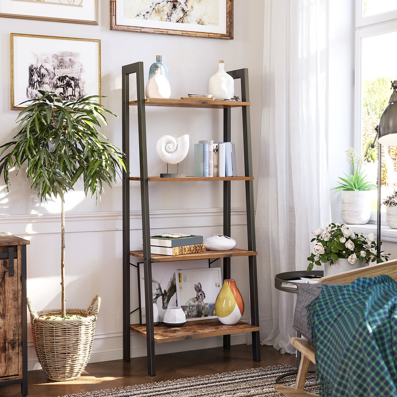 Williston Forge Parikh 54 1 H X 22 1 W Metal Ladder Bookcase Reviews