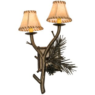 Chartier Pine Wood 2-Light Candle Wall Light By Loon Peak